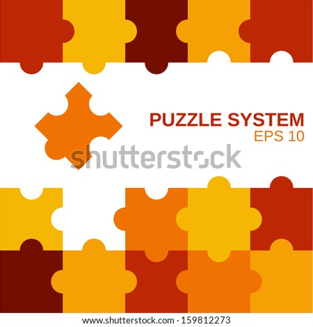 colored puzzle pattern (removable pieces), parts of puzzles, concept, template  - stock vector