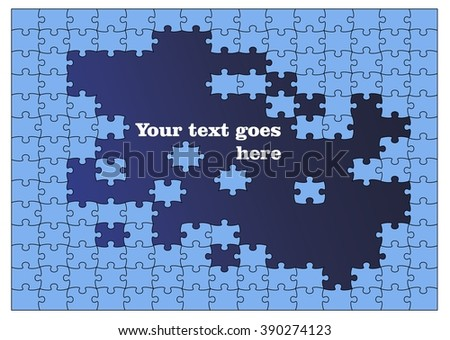 Colored puzzle pattern (removable pieces), parts of puzzles, concept, template  Vector Abstract Blue background made from light blue puzzle pieces and place for your content - stock vector