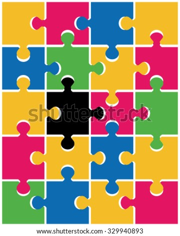 Colored puzzle pattern (removable pieces). vector illustration - stock vector