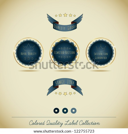Colored Quality Label Collection - stock vector