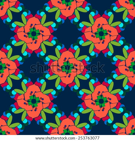 Colored repeat abstract flowers on the blue background. Vector illustration - stock vector
