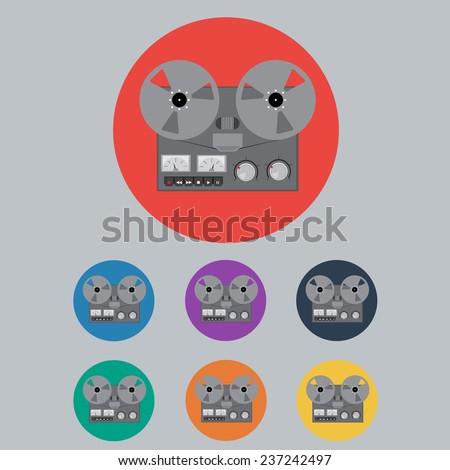 Colored Retro Portable Reel to Reel Tube Tape Recorder Set. Vector Illustration - stock vector