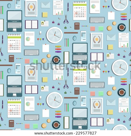 Colored Seamless Pattern Office Supplies Flat Style Business Wallpaper. Business objects tileable background on blue. Vector design. - stock vector