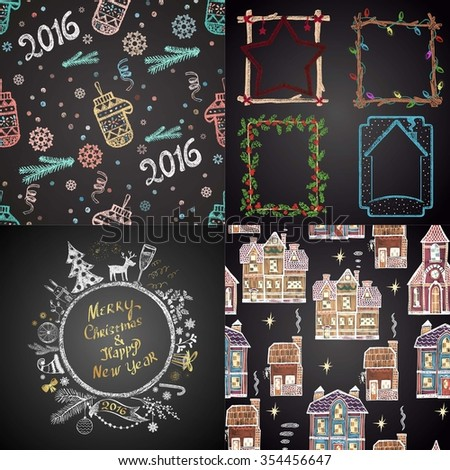 Colored set of chalk drawn Christmas illustrations (Christmas ball, seamless pattern with mittens, winter frames, seamless pattern with houses). Happy New 2016 Year Theme. Card design.  - stock vector