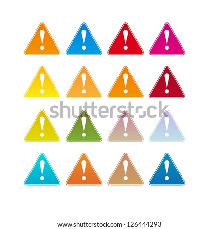 Colored set of warning attention signs with exclamation mark on - stock vector