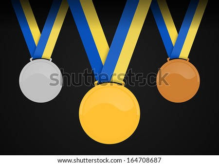 colored shiny blank medals with tape. gold, silver, bronze - stock vector