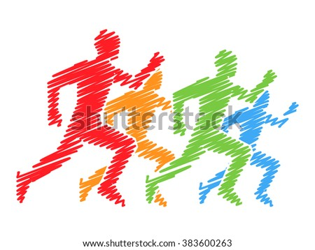 Colored silhouettes of runners. Vector figures athletes running. Line running symbol. Vector running and marathon logo. - stock vector