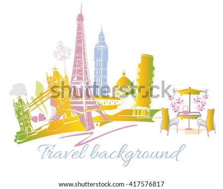 Colored silhouettes of sights in Europe with a cafe. - stock vector