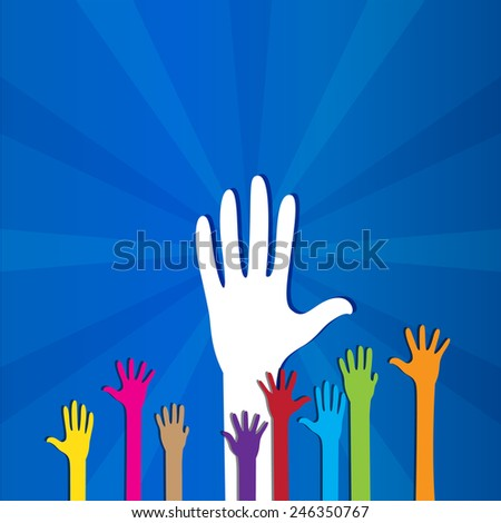 Colored social hands up donation isolated  - stock vector