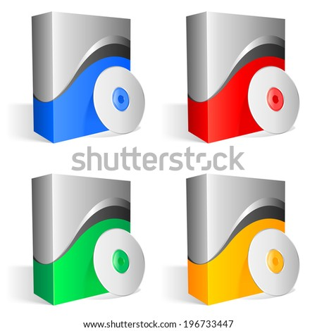 Colored software boxes and cds. - stock vector