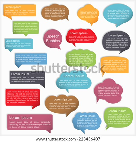 Colored speech bubbles with shadows, vector eps10 illustration - stock vector
