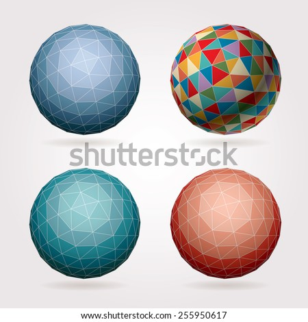 Colored spheres vector set. - stock vector