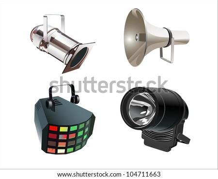 colored spotlights - stock vector