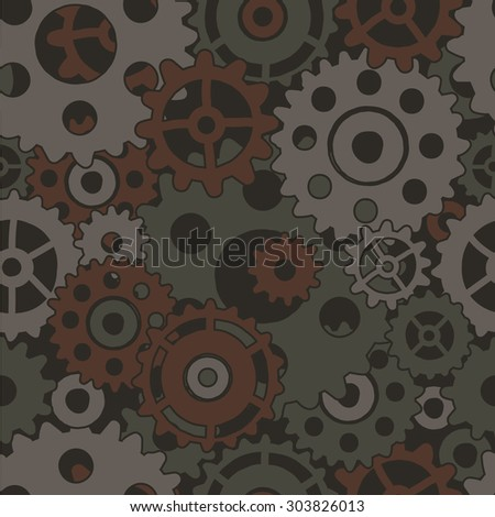 Colored steampunk seamless pattern - stock vector