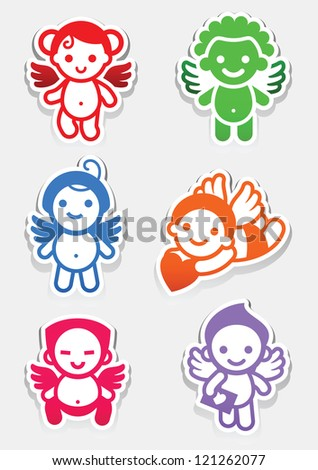 Colored stickers angel-set icons, collection signs - stock vector