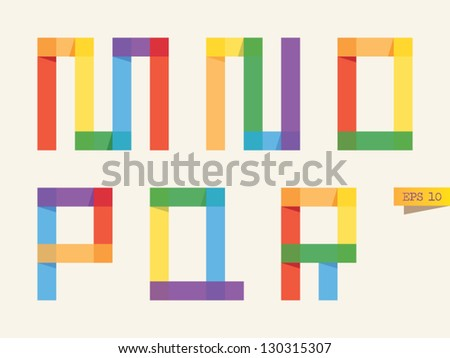 Colored sticky notes alphabet with rainbow colors. M, N, O, P, Q, R letters. - stock vector