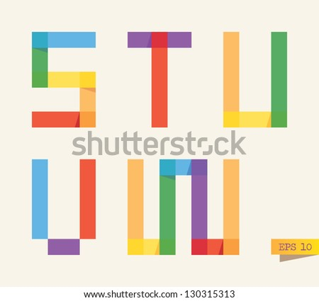 Colored sticky notes alphabet with rainbow colors. S, T, U, V, W letters. - stock vector
