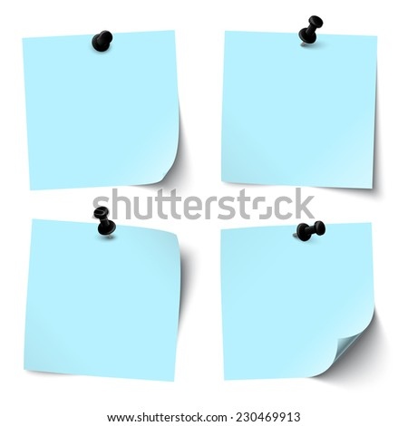 colored sticky papers with black pin needle - stock vector