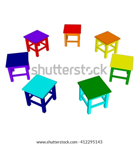 Colored stools arranged in a circle on a white background. Vector illustration. - stock vector