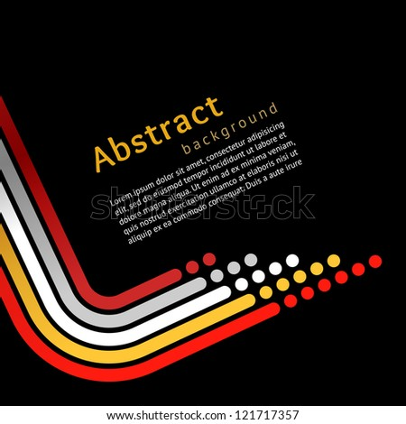 Colored stripes on black background, vector - stock vector
