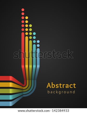 Colored stripes with circles on black background. Vector design template. - stock vector