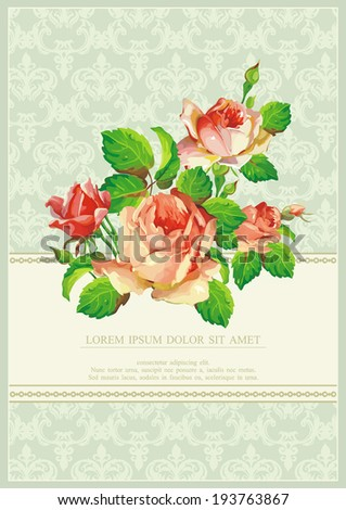 Colored Stylish vintage Vector frame. Happy Birthday illustration with flowers - stock vector