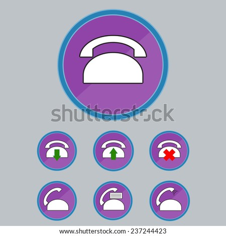 Colored Telephone Communication Icon Set. Vector Illustration - stock vector