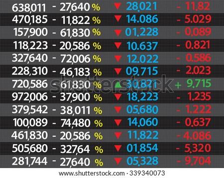 Colored ticker board on black - stock vector