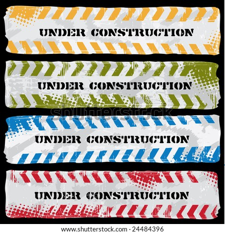 Colored Under Construction banners - stock vector