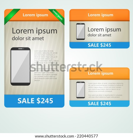 Colored vector banners selling phones. Flat vector colored banners, cards, paper designs, website layouts for selling phones. - stock vector