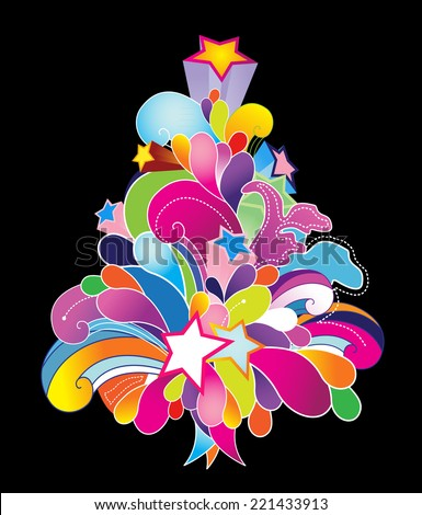 Colored vector Christmas tree. - stock vector