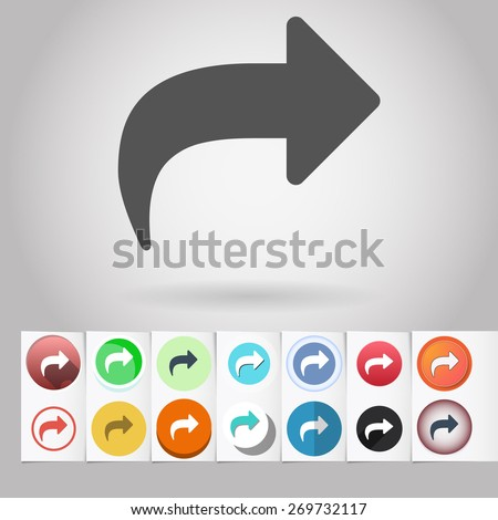 Colored vector flat Return arrow circle icon and buttons set. Design elements on paper styled background - stock vector