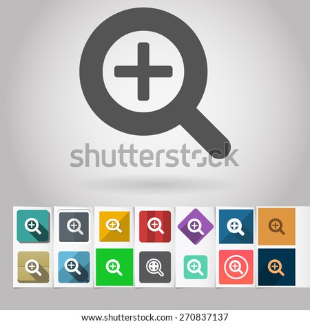 Colored vector flat Zoom loupe cursor square icon and buttons set. Design elements on paper styled background - stock vector
