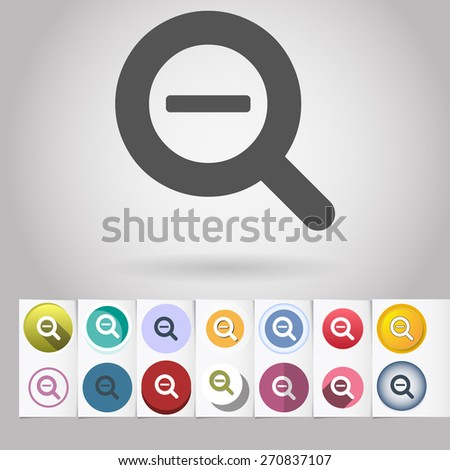 Colored vector flat Zoom out loupe cursor circle icon and buttons set. Design elements on paper styled background - stock vector