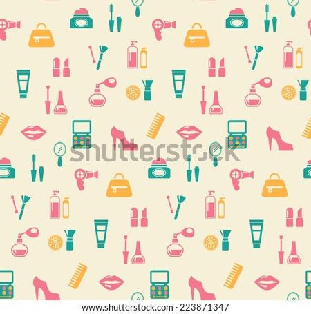 Colored vector hairstyling fashion and makeup seamless background pattern showing mascara  comb  hairdryer  perfume  nail varnish  containers  brushes  handbag  eye-shadow  lips  shoes  and blusher - stock vector