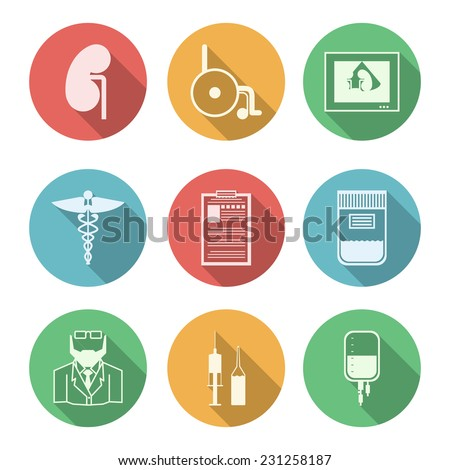 Colored vector icons for nephrology. Colored circle icons vector collection of black signs for nephrologist or nephrology on white background. - stock vector