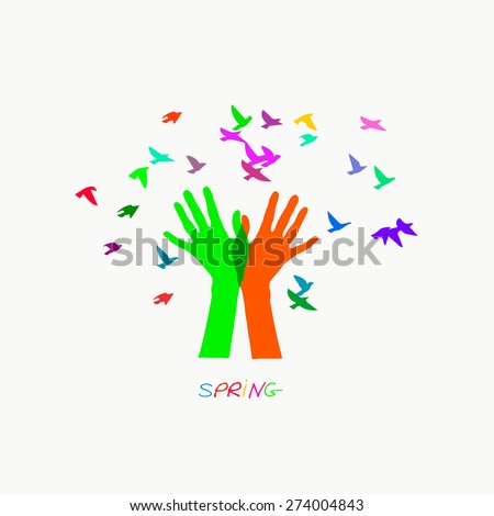 Colored vector illustration depicting hands, letting out a flock of birds - stock vector