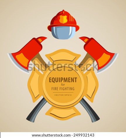 Colored vector illustration, icon. Firefighter Emblem or volunteer. Maltese cross, shield, ax, fireman helmet. Element for the magnet on the fridge or print for shirts. Red, yellow, brown. - stock vector