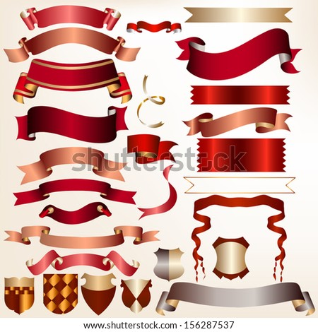 Colored vector ribbons set for your festive  design - stock vector