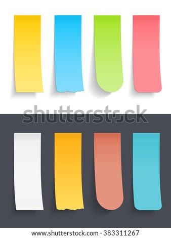 Colored vertical sticky notes set, vector eps10 illustration - stock vector