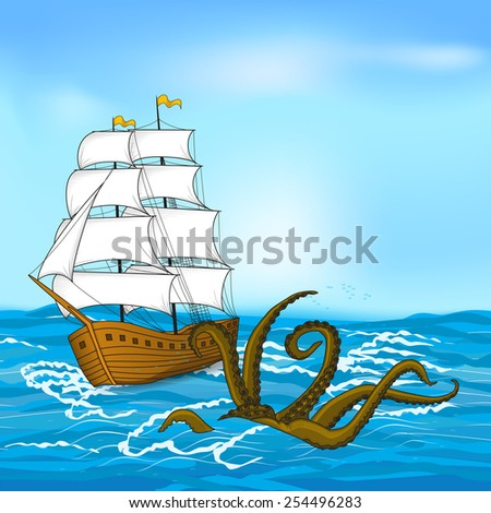 colored vintage sailing ship and octopus at sea - stock vector