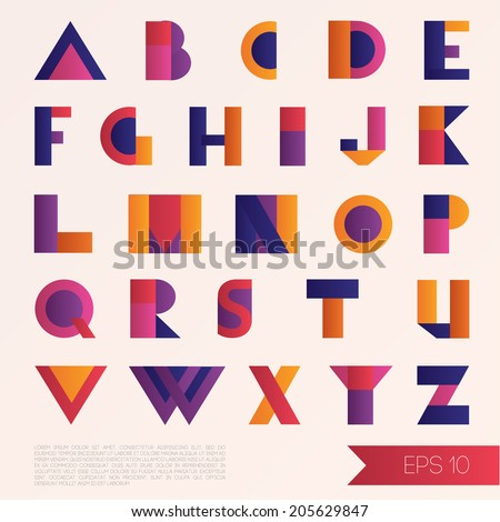 colorful abstract art style alphabet, vector illustration  - stock vector