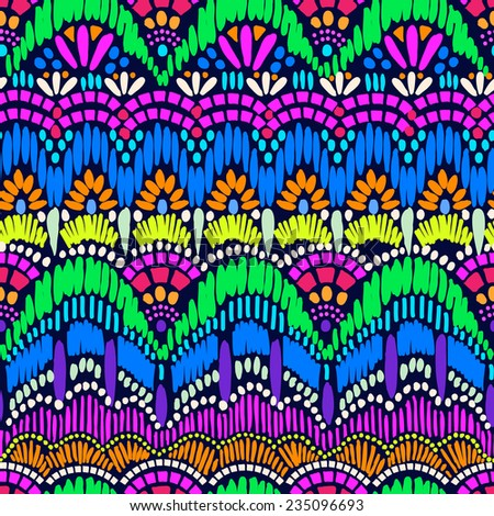Colorful abstract, artistic lace edge stripes ~ seamless background - stock vector