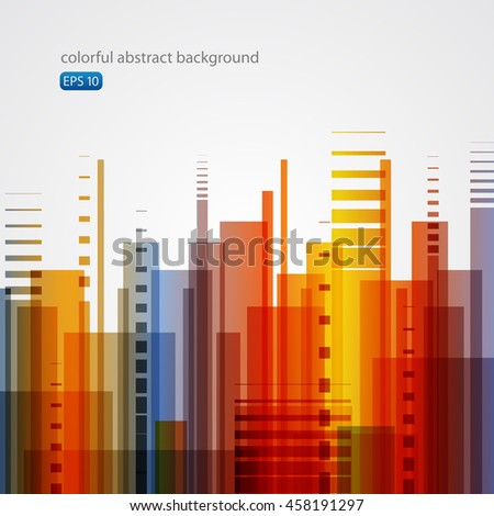 Colorful abstract background - city, equalizer, dynamic. - stock vector