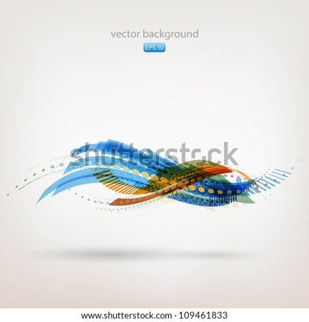 Colorful abstract background - moving water wave - stock vector
