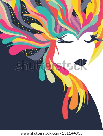 Colorful abstract background with woman - stock vector