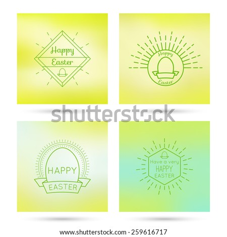 Colorful abstract backgrounds blurred hipster  logo, badge, monogram, banner, insignias with a geometric symbol and Easter egg. - stock vector