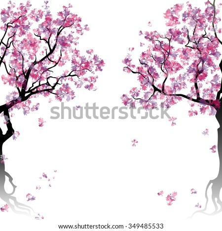 Colorful abstract blooming trees. Template with place for inscription. Spring background. Watercolor imitation. Vector, EPS 10. - stock vector