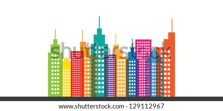 Colorful Abstract City Skyline Vector - stock vector