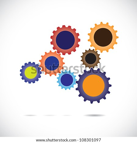 Colorful abstract cogwheels or gears in controlled rotating motion implying balanced & synchronous system. Each cog wheel complements the cogwheels it is associated with & works as a team for balance. - stock vector
